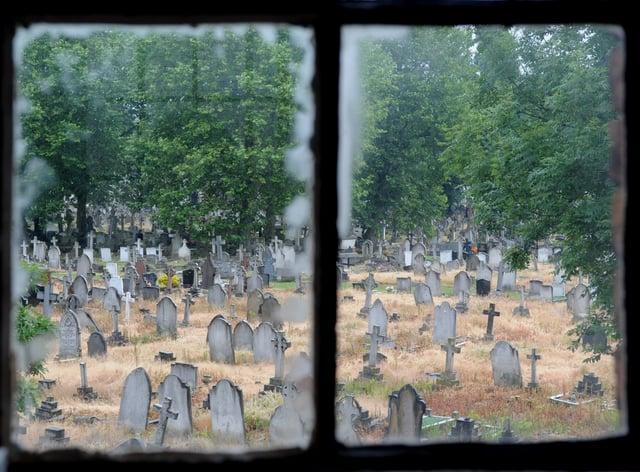 Kensal Green Cemetery as seen through a window (Ian Ncholson/PA)