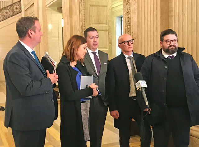 (lL to R) Stephen Kelly, of Manufacturing NI, Angela Magowan, of CBI NI, Glyn Roberts, of Retail NI, Colin Neill, of Hospitality NI, and Aodhan Connolly, of NIRC