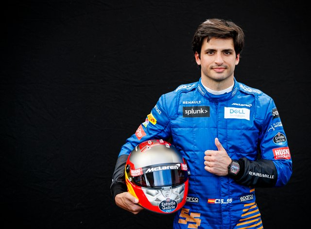 Carlos Sainz is all smiles as he signs for Ferrari (PA Images)