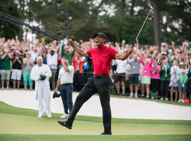 Woods celebrates his 2019 Masters victory