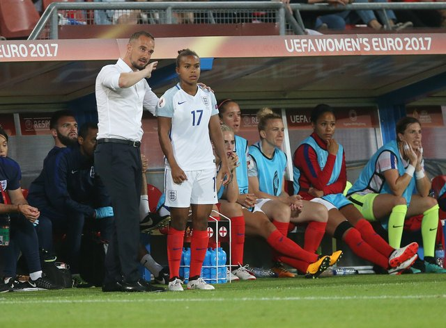 Ex-England boss Mark Sampson with Parris in Euro 2017