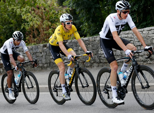 Ineos riders Bernal (left), Thomas (centre) and Froome (right) have all won the Tour de France