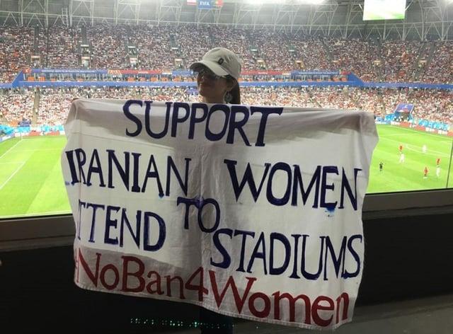 Maryam Shojaei displays her campaign banner