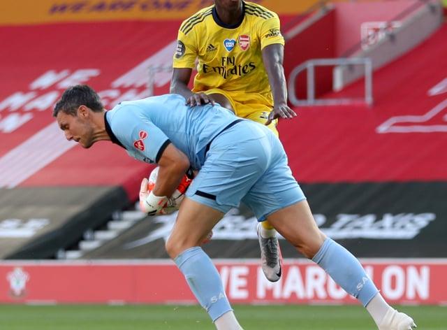 Arsenal's Eddie Nketiah took advantage of Alex McCarthy's error