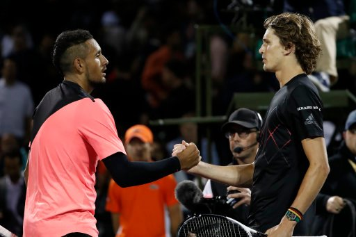 Nick Kyrgios (left) has blasted Alexander Zverev (right) for partying when he was meant to be self-isolating