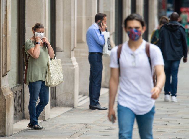 Shoppers wearing face masks
