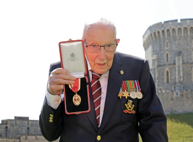Captain Sir Thomas Moore after he received his knighthood (Chris Jackson/PA)
