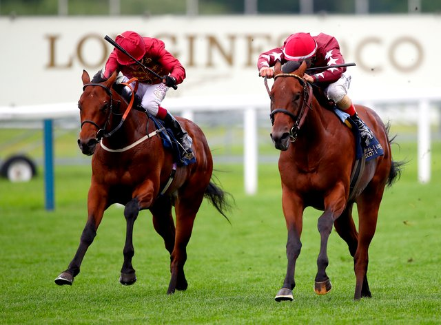 The Lir Jet (left) on his way to winning the Norfolk Stakes