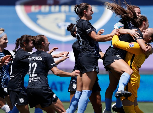 Sky Blue FC celebrate after beating Washington Spirit
