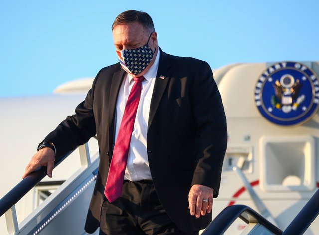 US Secretary of State Mike Pompeo steps from his plane upon arrival in London