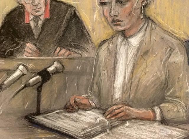 Court artist sketch by Elizabeth Cook of actress Amber Heard (Elizabeth Cook/PA)