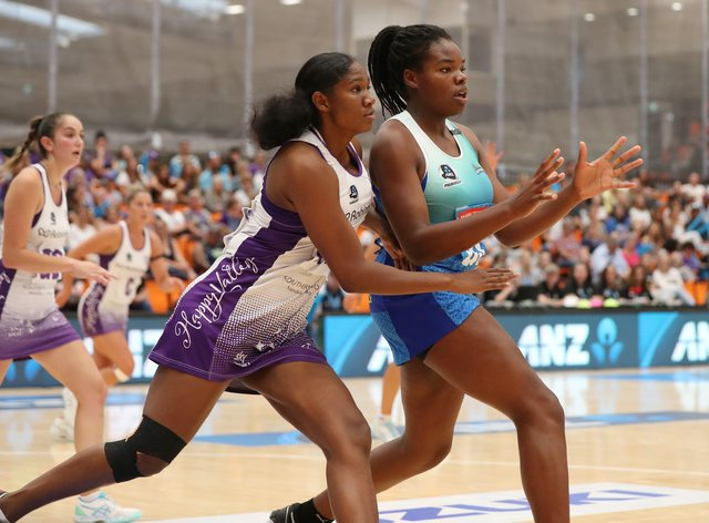 Daystar Swift (left) is eager to use her experience in the ANZ Premiership to help boost netball in her home nation of Trinidad