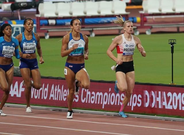 World heptathlon champion Katarina Johnson-Thompson (centre) was set to compete