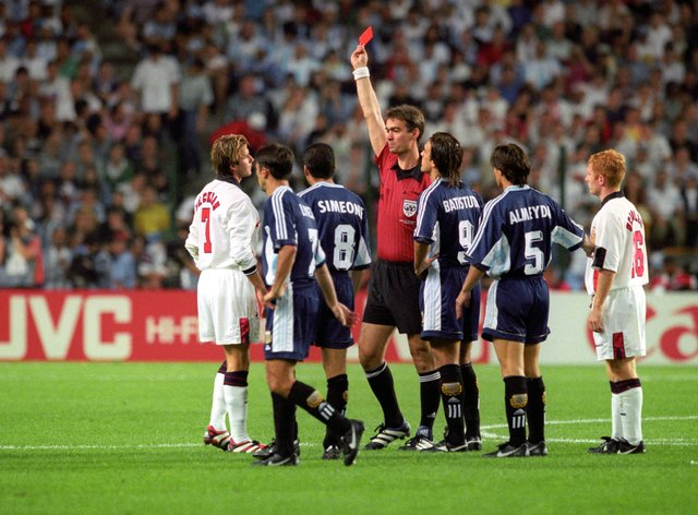 "David Beckham experienced a ""brutal"" reaction to his 1998 red card"