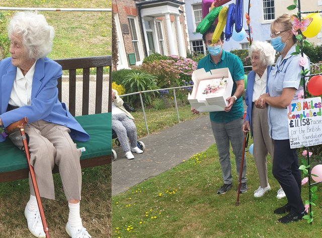 Joan Willet, 104, having completed her 17-mile hill walk challenge in July