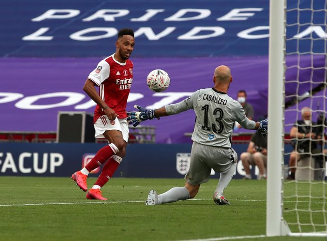 Arsenal's Pierre-Emerick Aubameyang scores his second goal in the FA Cup final at Wembley