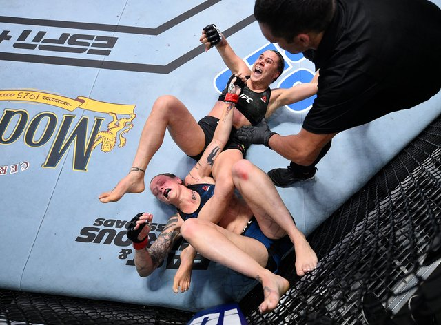 Joanne Calderwood (left) lost to Jennifer Maia