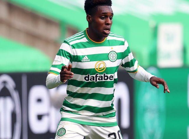 Celtic's Jeremie Frimpong not paying attention to what Rangers do.