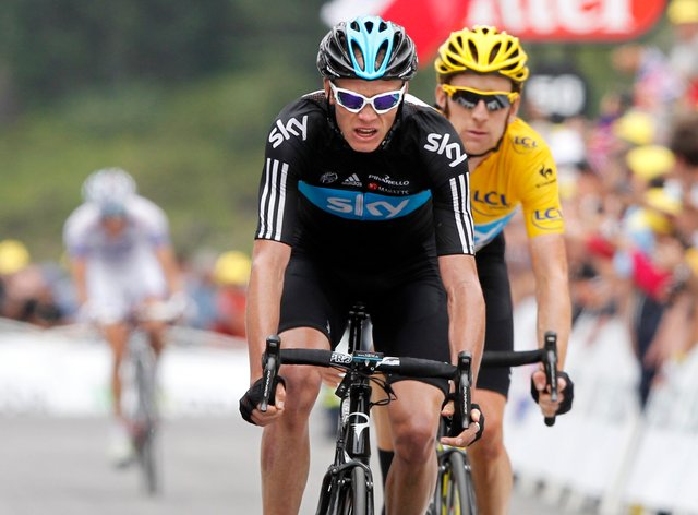 Froome (front) finished second at the 2012 Tour when Wiggins won the race