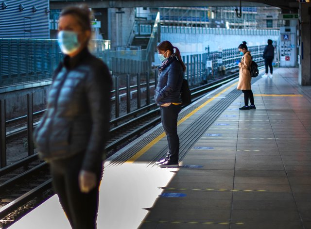 One in 10 public transport users in Britain are breaking rules on mandatory face coverings, Transport Secretary Grant Shapps said (Victoria Jones/PA)