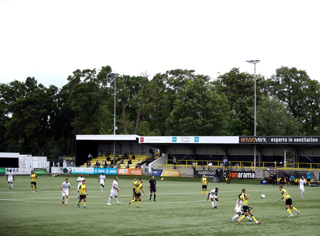The artificial pitch at Harrogate's CNG Stadium will be replaced from Tuesday