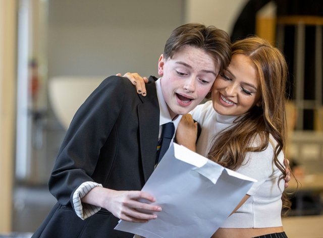 Pupil receiving exam results