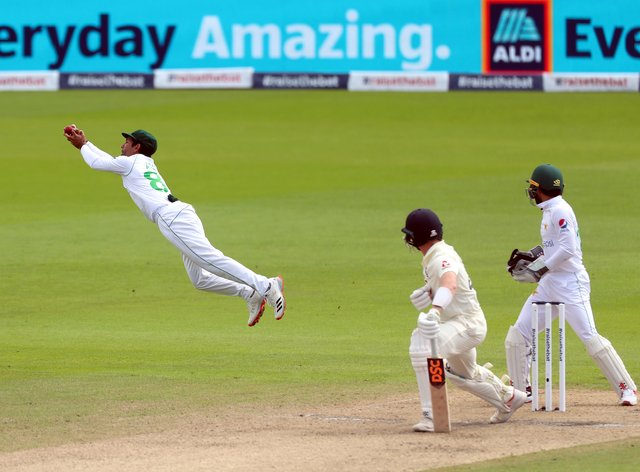 Dom Bess looks on as he is caught out by Pakistan's Asad Shafiq