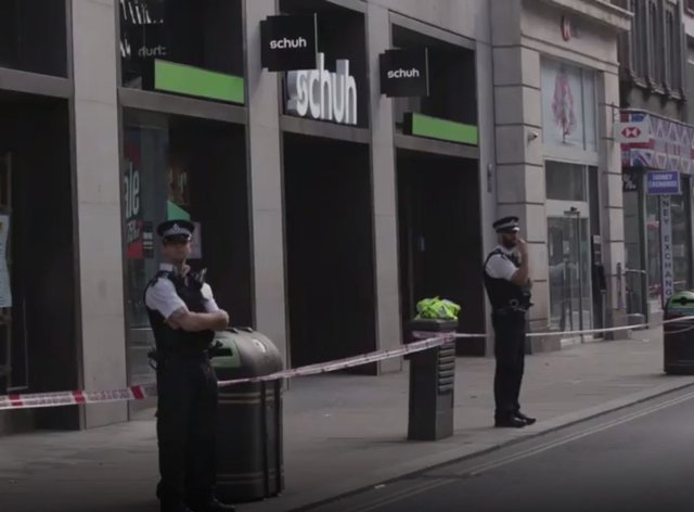 Police at the scene on London's Oxford Street