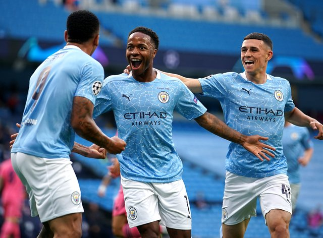 """Raheem Sterling (centre) celebrates scoring against Real Madrid on Friday before insisting Manchester City are """"hungry"""" for Champions League success."""