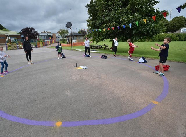 Children social distancing in a playground