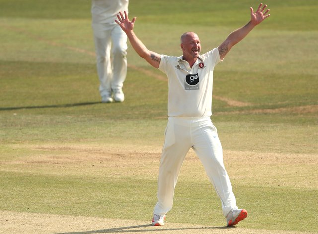 Kent's Darren Stevens celebrated a five-wicket against Sussex in Canterbury