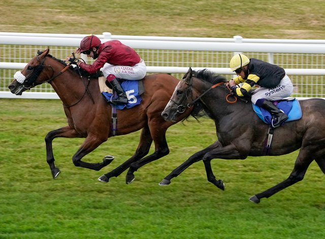 Oisin Murphy completes his Salisbury treble as Iron Heart (left) wins the Kevin Hall & Pat Boakes Memorial Handicap