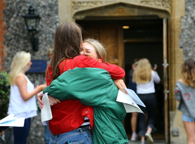 Students celebrate getting their exam results