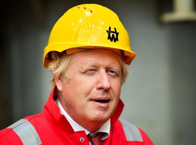 Boris Johnson during his visit to Appledore Shipyard