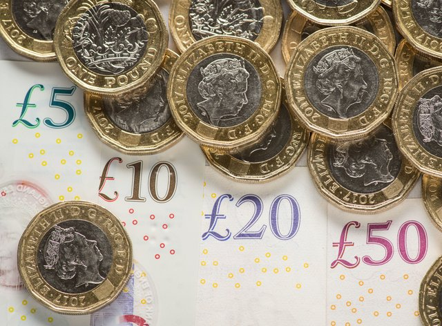 Pound coins and banknotes