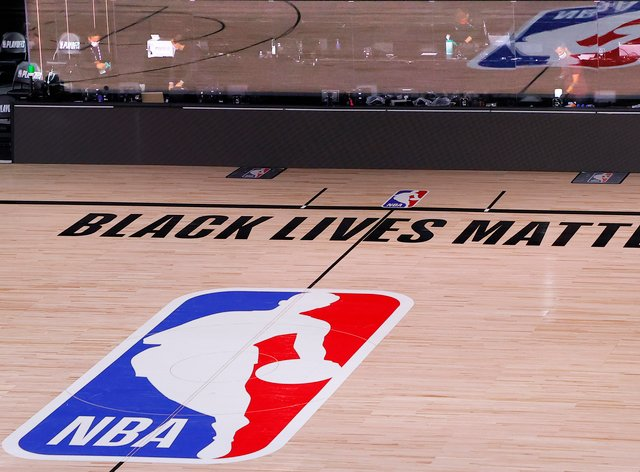 The court sits empty after the scheduled start time of the Milwaukee Bucks-Orlando Magic match, which was postponed in reaction to the shooting of Jacob Blake