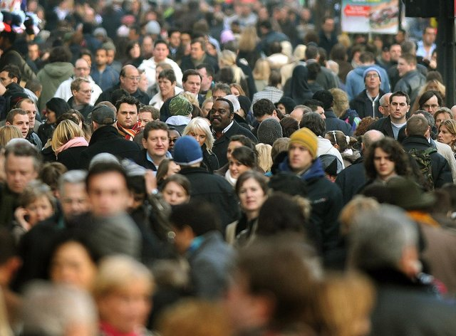 Crowds shopping in London's Oxford Street