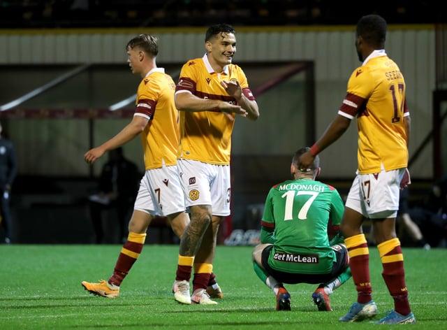 Tony Watt celebrates scoring Motherwell's fourth goal against Glentoran