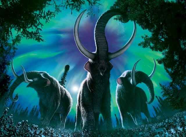 Artist's impression of mastodons