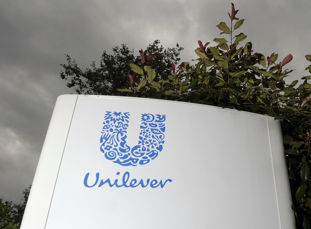 A general view signage at the Unilever sourcing unit in Slough