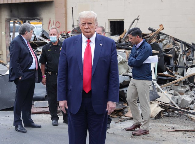 Trump visited law enforcement officers in Kenosha on Tuesday