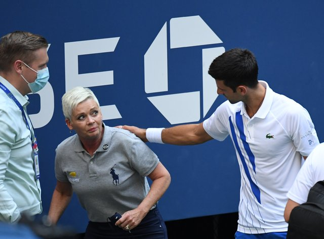 Djokovic immediately apologised to the line judge after hitting her with the ball