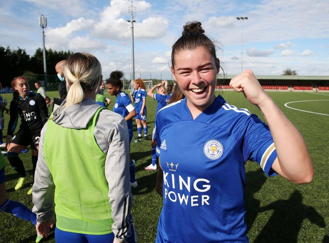 Flint scored two goals in her debut for Leicester