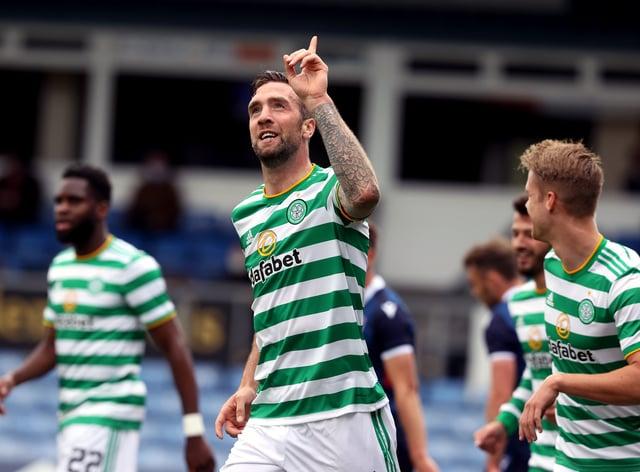 Shane Duffy celebrates his debut goal for Celtic
