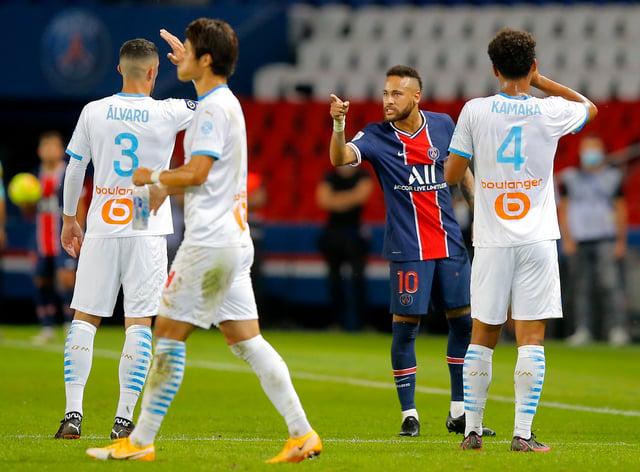 Neymar has accused Marseille's Alvaro, left, of racism