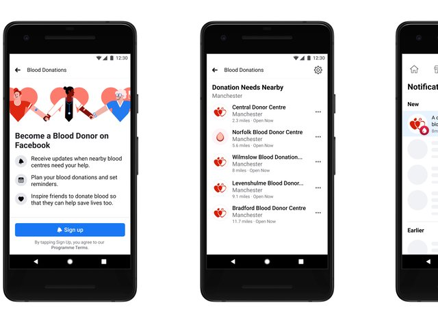 Facebook's blood donation feature