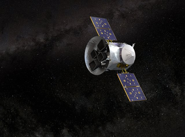 Artist's impression is of Nasa's planet-hunting spacecraft, the Transiting Exoplanet Survey Satellite (TESS).