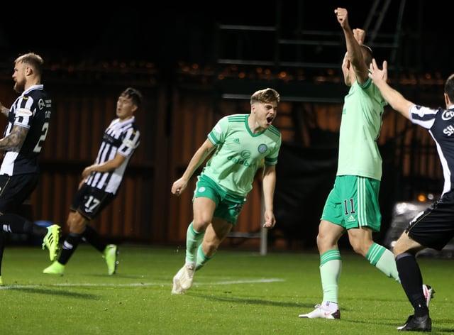 Celtic's James Forrest scored a header at St Mirren