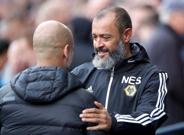 Nuno Espirito Santo, right, and Pep Guardiola