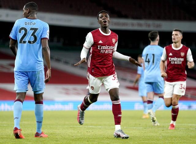 Eddie Nketiah, centre, celebrates after scoring Arsenal's winner against West Ham